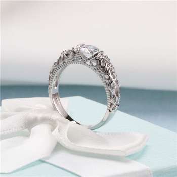 CC Vintage Rings Palace Pattern Silver Ring Cubic Zirconia Wedding Engagement Bridal Jewelry 1
