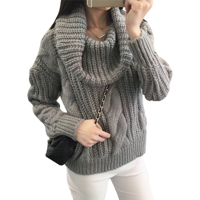 2016 autumn winter pullover new Korean solid color jumper large lapel sweater  women jacket sweaters clothing vestidos MMY276 5ada854df