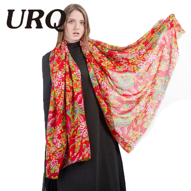 Chinese Style floral ethnic Scarf tassel For women spring fashion Accessories long Soft scarves Red Flower Print Shawl 2017