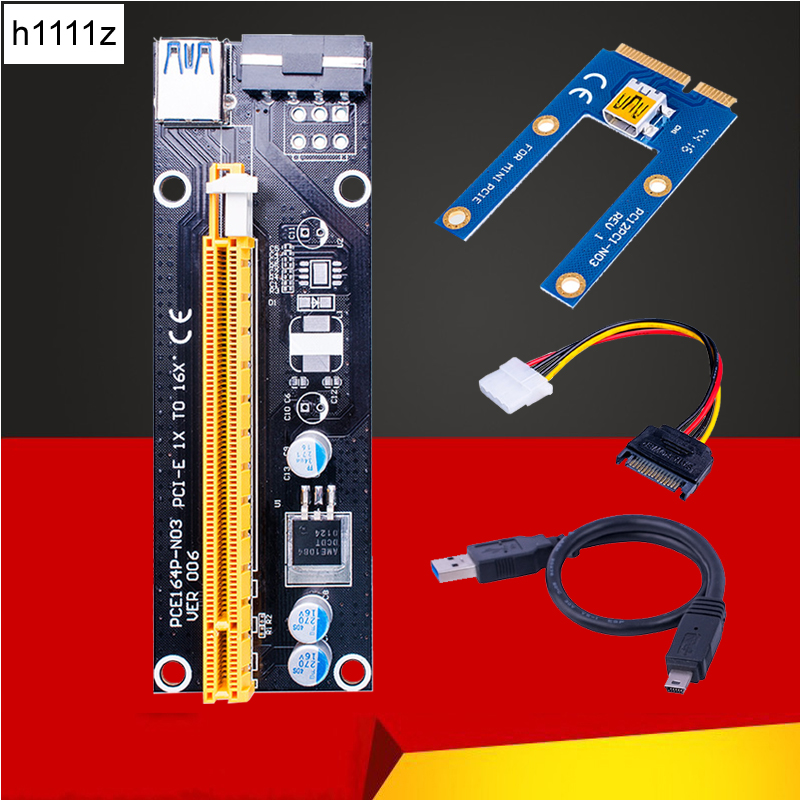 Mini PCIe 1x a PCI Express x16 tarjeta Riser para ordenador portátil tarjeta gráfica externa GDC Miner mini PCIe a PCI-e ranura para BTC minería