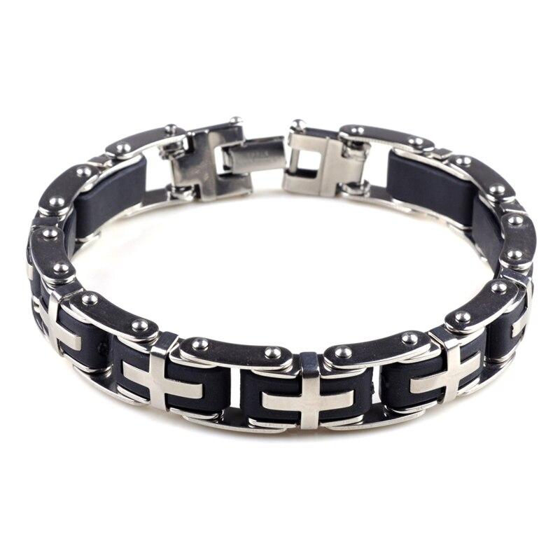 """Fashion Men Silver Cross Acier Inoxydable Caoutchouc Noir Bracelet Bangle Bracelet/"""""""