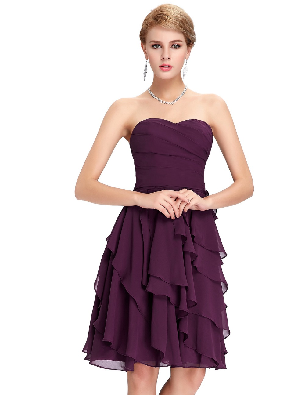 Purple Tiered Cocktail Dress