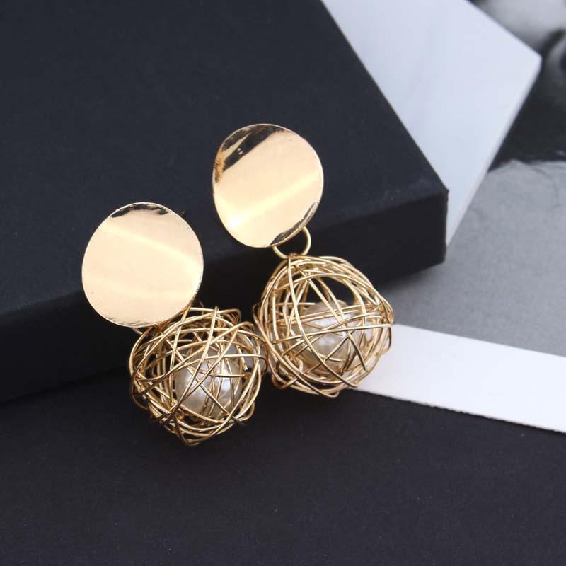 Women Round Drop Earrings Geometric Hollow Ball Inside Imitation Pearl Female Hanging Dangle Earrings Brincos Oorbellen Jewelry(China)