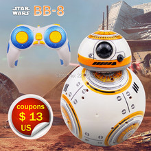 Fast Shipping Intelligent Star Wars Upgrade RC BB8 Robot With Sound Action Figure Gift Toys BB-8 Ball Robot 2.4G Remote Control(China)