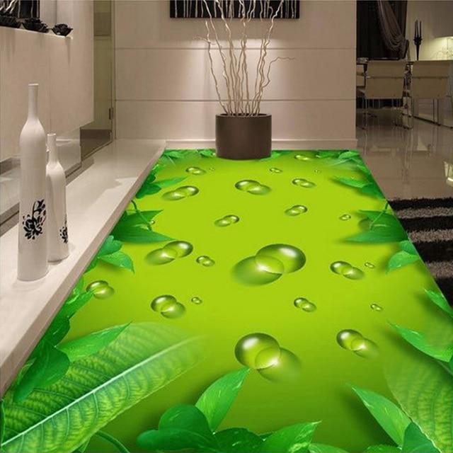 Custom Foto Boden Tapete Grün Wasser Tropfen Wohnzimmer Bad Boden Aufkleber  PVC Selbst Adhesive Foto