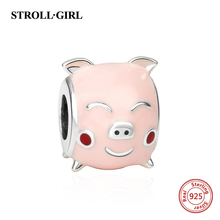 New arrival diy pink color enamel cute pig charms beads fit original Pandora bracelets pendant jewelry making for women gift