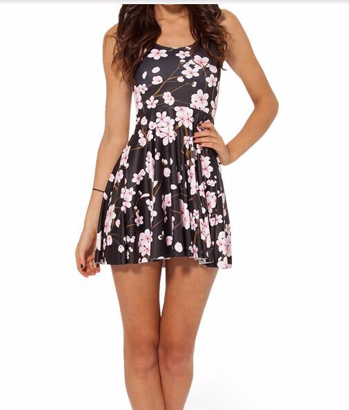 HTB1TSFJKXXXXXa0XpXXq6xXFXXXa - SexeMara 2018 Hot Sale Pink Plum Print Beautiful Skater Dress Vestidos Vintage Style Pleated Mini Dress Women's Party Dress