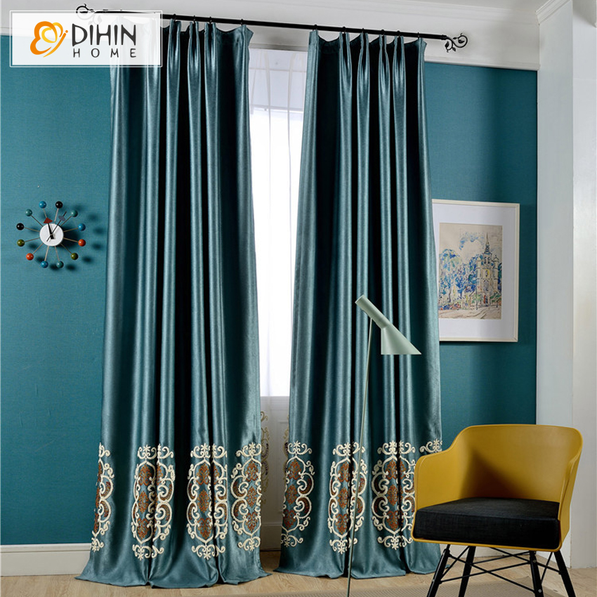 DIHIN European Embroidered Luxury Curtains For Windows Shade Sheer Kitchen Blinds Living Room Window