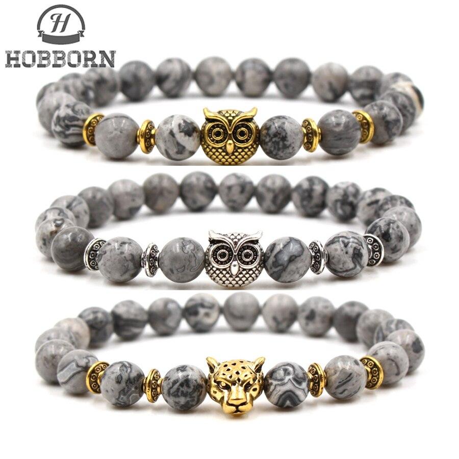 HOBBORN Trendy 8mm Map Stone Strand Men Cuff Bracelet Handmade Owl Leopard Charm Bracelets Women DIY Jewelry Pulsera
