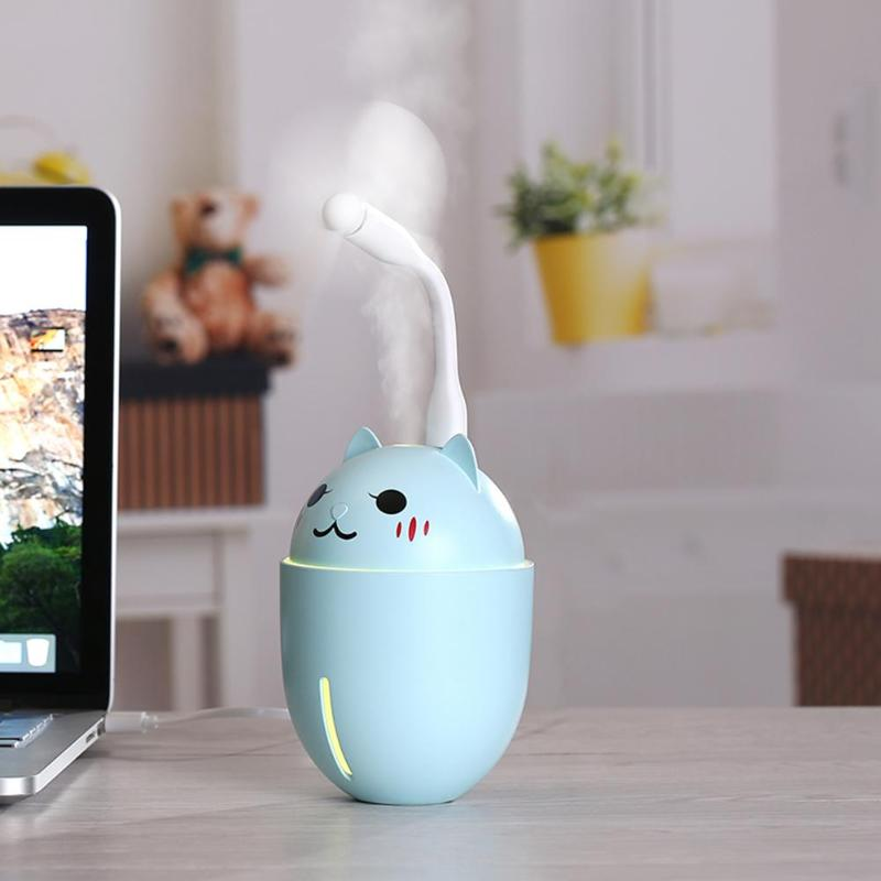 Humidificador de aire ultrasónico USB de 320 ml 3 en 1 minihumidificador de niebla fría Adorable Pet luces LED purificador de aire con ventilador USB