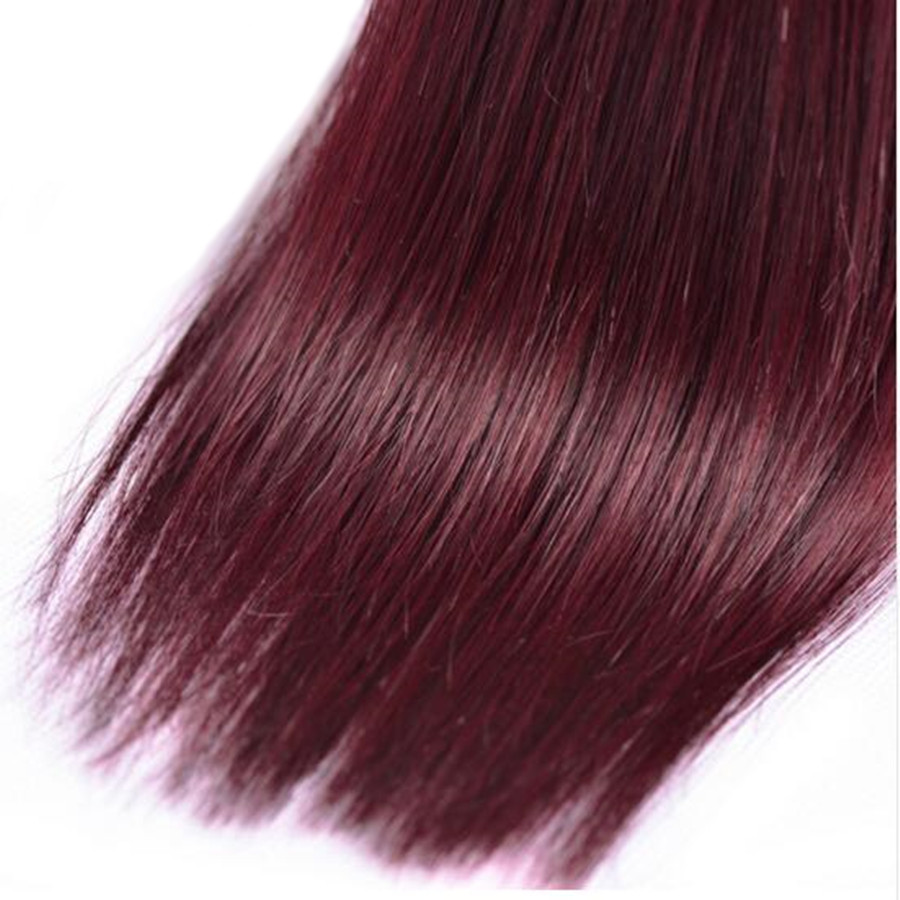 ALIPOP Burgund Peruvian Straight Hair Bundles Human Hair Bundles 3PC - Menneskehår (sort) - Foto 5