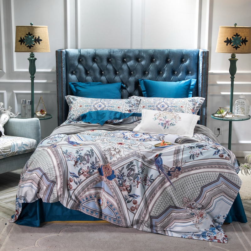 Luxury Egyptian Cotton Blue Bohemia Bedding Set Queen King Bed set Bed sheet Duvet Cover Fitted