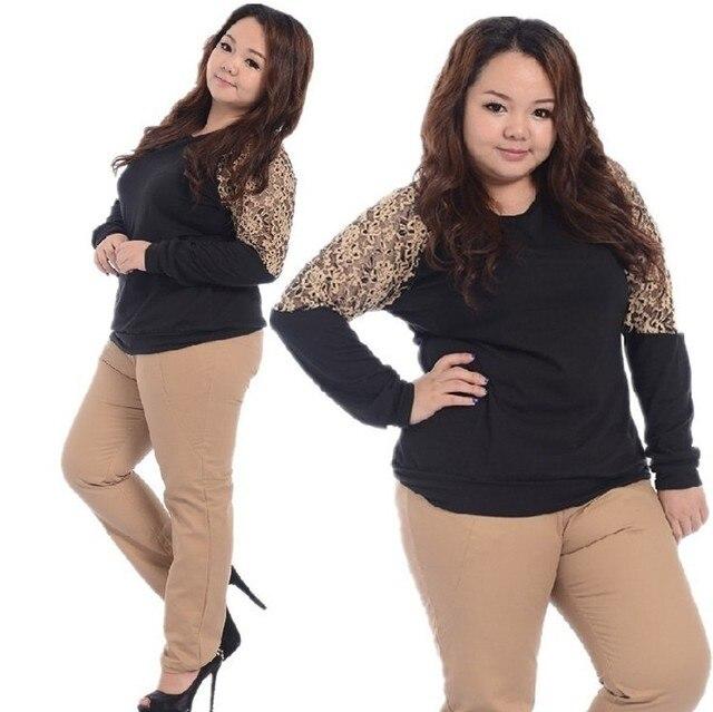 7d5bda068c5 Lace Hit Color Long Sleeve T-shirt Fat Women Autumn Blouse Plus Size Ladies  Big Size Tops Basic Shirt Round Neck Fashion Korean