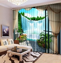 custom 3d curtains Waterfall landscape window for living room luxurious white european