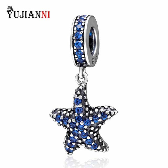 f944e8128 Fit Original Pandora Snake Chain Bracelets Jewelry Dangle Starfish Pendant  925 Sterling Silver Charm With Blue CZ