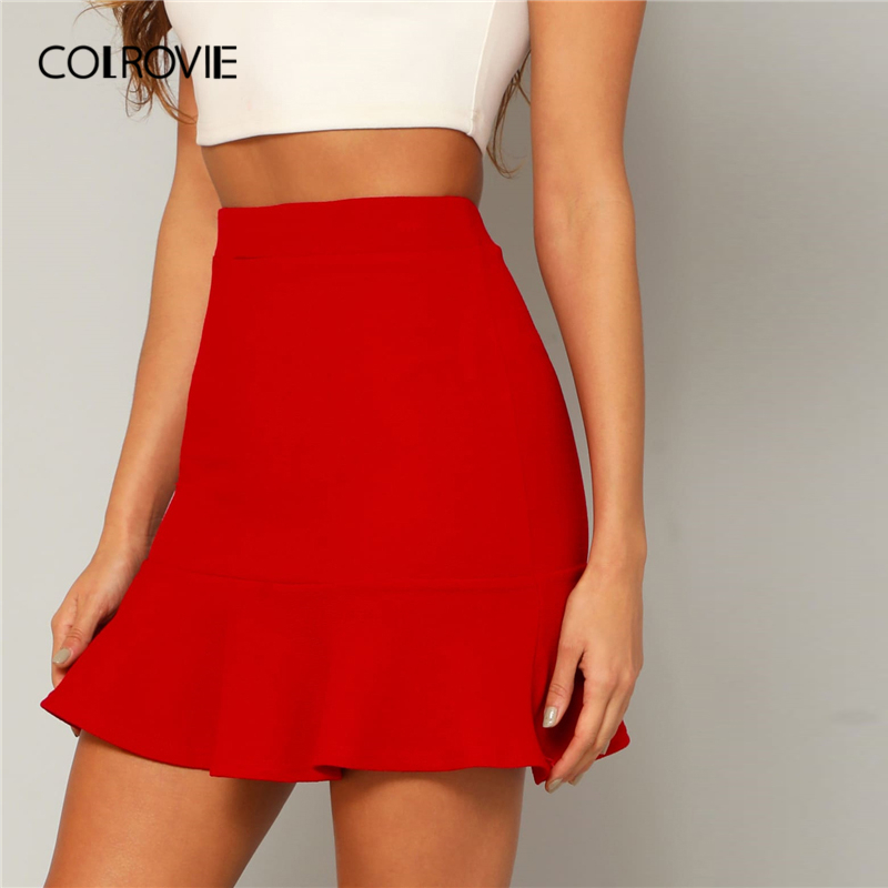 COLROVIE Red Solid Ruffle Hem Party Elegant Skirt Women Bottoms 2019 Summer High Waist Pencil Mini Skirt Office Ladies Skirts