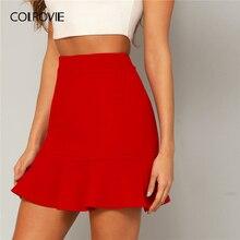 Женская офисная юбка карандаш COLROVIE, красная однотонная вечерняя мини юбка с оборками на подоле, лето 2019