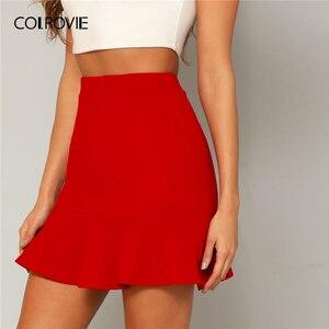 Image 1 - Женская офисная юбка карандаш COLROVIE, красная однотонная вечерняя мини юбка с оборками на подоле, лето 2019