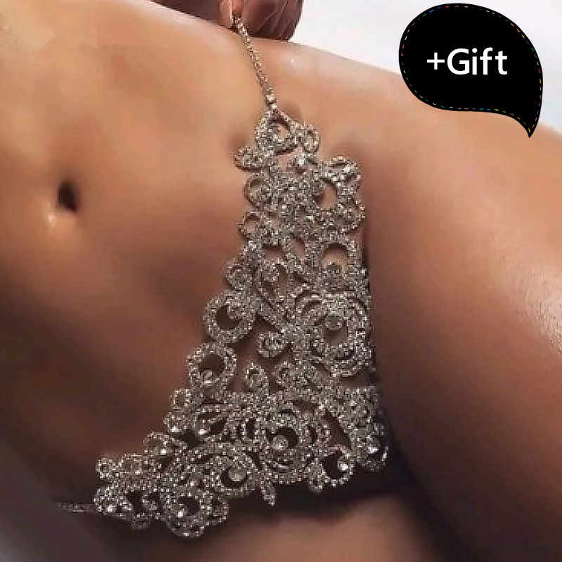 Sexy Bikini Thong Panties Chain Porno Erotic Sequin Underwear Belly Chain Crystal Body Chain For Women Sexy Jewelry
