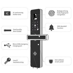 Image 3 - Дверной замок PINEWORLD с Биометрическим распознаванием отпечатков пальцев, интеллектуальный электронный замок, проверка отпечатков пальцев с паролем и разблокировкой RFID ключа
