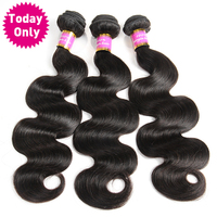 [TODAY ONLY HAIR] Peruvian Body Wave Bundles 100% Human Hair Weave Bundles Natural Black Color Non Remy Hair Can Buy 3 or 4 Pcs