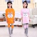 2016 Moda Primavera Boutique Outfits Crianças Mais Velhas Conjuntos de Roupas Meninas Bonito Imprimir Manga Comprida Tops Camisola Calças Ternos Roupas