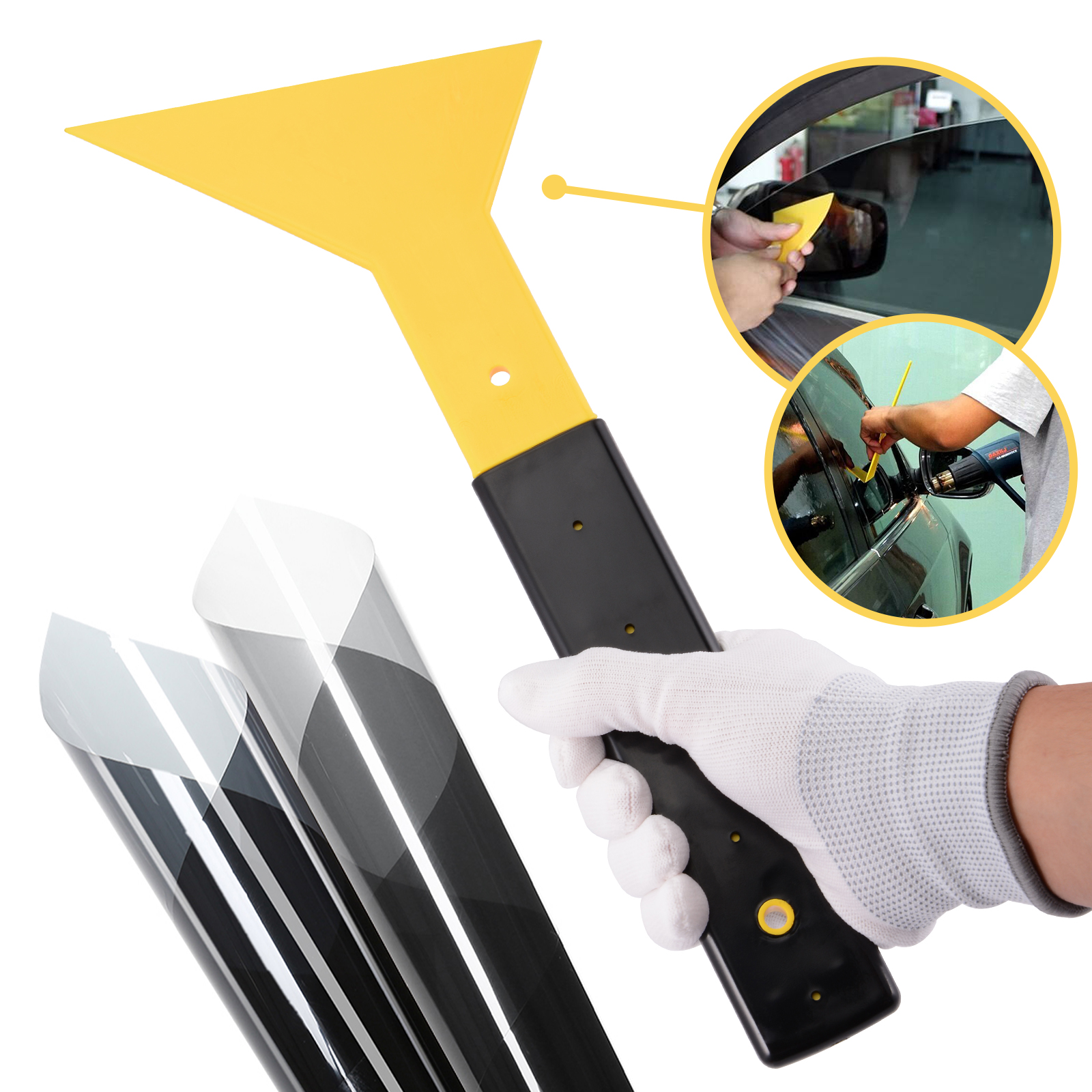 Image 2 - FOSHIO 32.7cm Handled Car Vinyl Wrap Squeegee Scraper Window Tint Tool Car Wrapping Household Cleaning Tool Glue Film Remover-in Scraper from Automobiles & Motorcycles