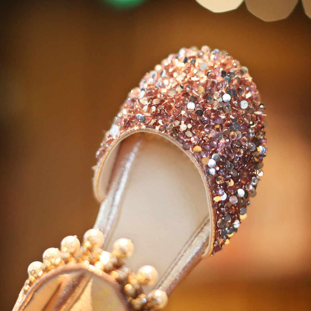 เด็กรองเท้าแตะฤดูร้อนรองเท้าคริสตัลเด็กวัยหัดเดินเด็กทารกเด็กหญิง Pearl Sequins เจ้าหญิงรองเท้ารองเท้าแตะ # XTN