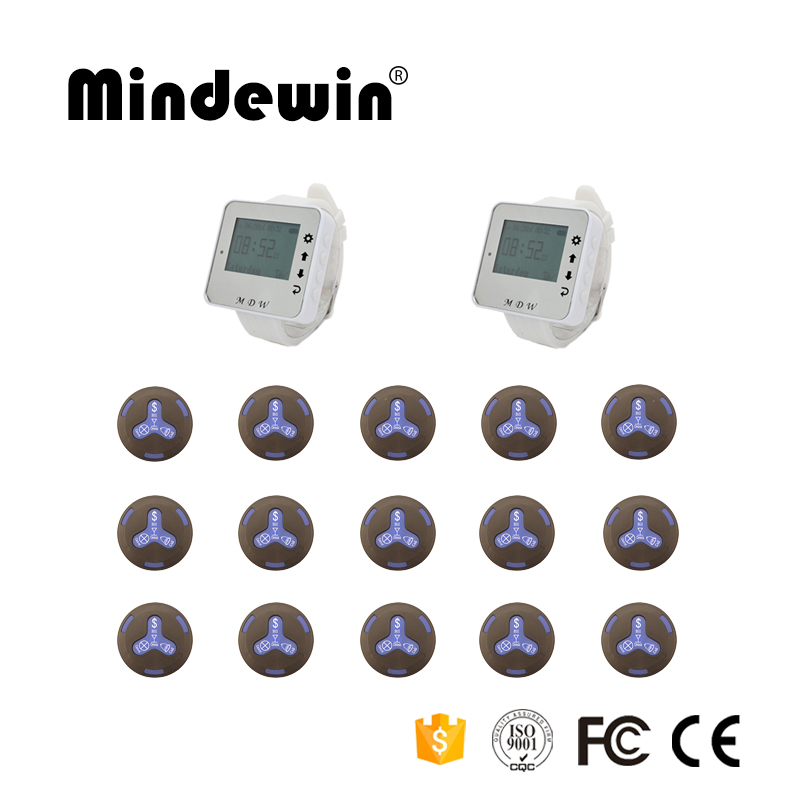 Mindewin 2017 Fashion Design Wireless Watch Pager 2pcs Wrist Watch + 15pcs Waterproof Call Button Restaurant Calling System wireless order calling system best price of full equipment fashion design ce passed 1 display 2 wrist pager 30 call button