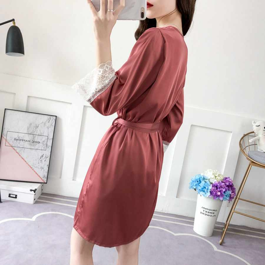 Комплект из 3 предметов, Пижама + халат для женщин, сексуальная пижама с кружевами, халат, женская шелковая v-образная Пижама, шорты, кимоно, домашний костюм из сатина