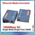 1 Pair Fiber Optical Media Converter Gigabit HTB-GS-03 A/B 1000Mbps Single Mode Single Fiber SC Port 20KM External Power Supply