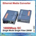 1 Par de Fibra Óptica Media Converter Gigabit HTB-GS-03 A/B 1000 Mbps Puerto Monomodo Fibra simple SC 20 KM fuente de Alimentación Externa