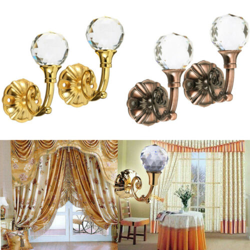 2PCS Durable Large Metal Crystal Glass Ball Curtain Tie Backs Door Wall Holdback Tassel Hooks Holder Hanger