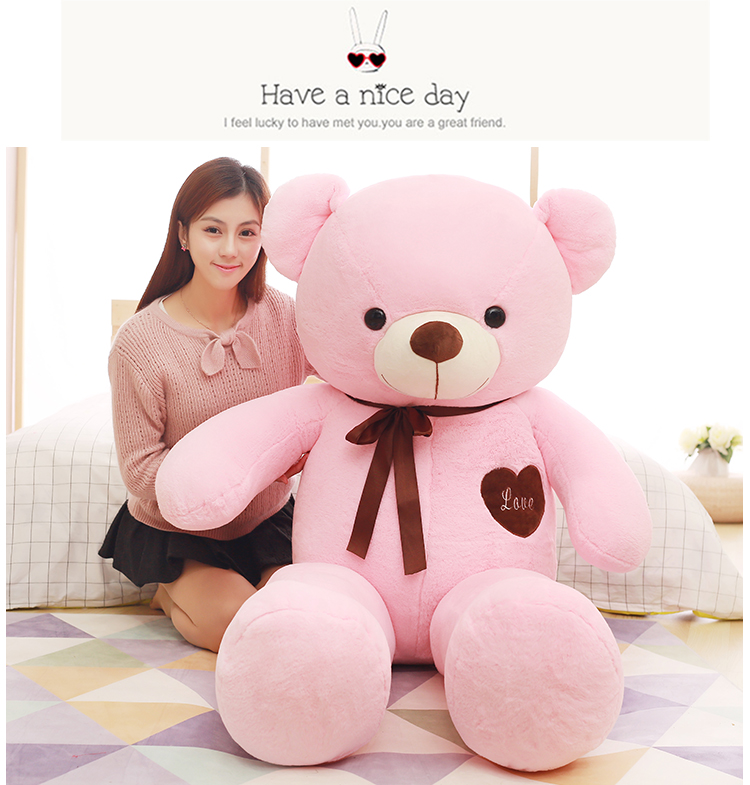 stuffed toy large 160cm pink love teddy Bear plush toy,hugging pillow birthday gift,b0778 lovely panda in pink dress big 90cm plush toy panda doll soft throw pillow proposal birthday gift x030