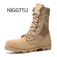 NIGGTTLI Large Size Genuine Leather Wild Warm Boots Men Military Desert Boot Shoes Men Winter Boots