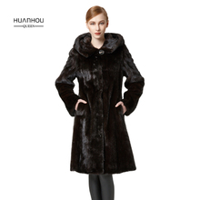 HUANHOU QUEEN real mink fur coat for women's mink fur coat long  with fur hood,thick warm and fashion slim full pelt fur coat.