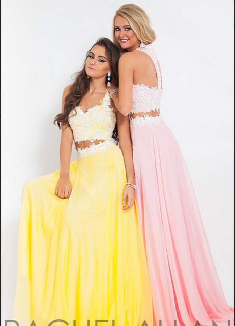 7f877e6ea31 Long Yellow Pink Two Piece Prom Dresses Sweetheart Spaghetti Straps  Appliques Sequins Chiffon Party Dresses vestido de formatura