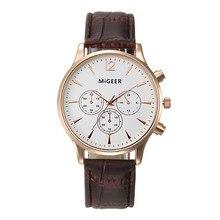 MIGEER модные кожаные мужские часы, 1 шт., с тремя глазами, розовое золото, циферблат, деловые кварцевые наручные часы, relojes hombre A60