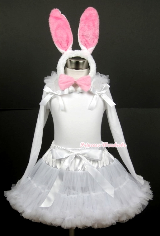 White Pettiskirt with Matching White Long Sleeve Top with White Ruffles & White Bow With White Rabbit Costume