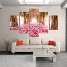Деревья розовый цветок 5 шт Дешевая современная hd Печать куадро