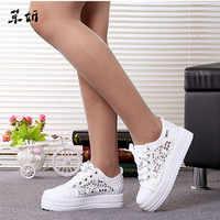 Summer Women Shoes Casual Cutouts Lace Canvas Shoes Hollow Floral Breathable Platform Flat Shoe White Black 23-25.5cm