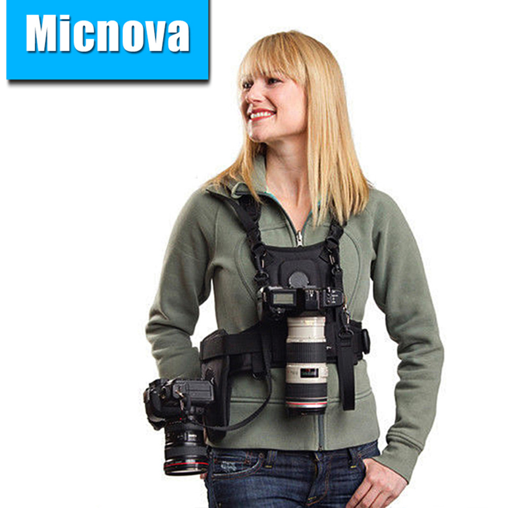 Micnova MQ-MSP01 Multi Camera Carrying Chest Harness System Vest with Side Holster for Canon Nikon Sony DSLR Cameras