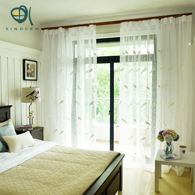 Sinogem Embroidered White Tulle Curtains For Living Room Sheer Bedroom  Pastoral Style Curtain Bird Leaves Mesh