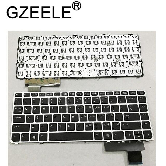 GZEELE English Laptop keyboard for HP EliteBook Folio 9470M 9470 9480 9480M 702843 001 US Replace Keyboard Silver