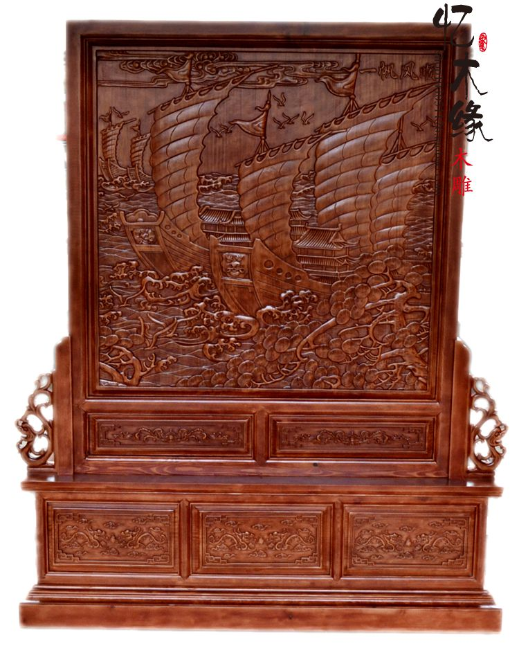 Dongyang woodcarving screen screen solid wood floor Everything is going smoothly. living room partition double-sided carving pla сувенир медвс кружка аничков мост акварель деколь 9 5см 7см [46 8149]