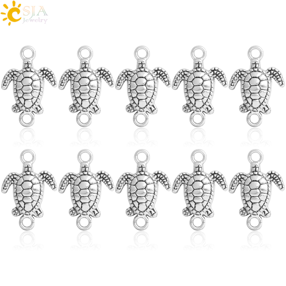 CSJA Tibetan Silver Turtle Charms Connector Spacer Metal Loose Beads for Jewellery Making Bracelets HandCrafted Two Holes S446