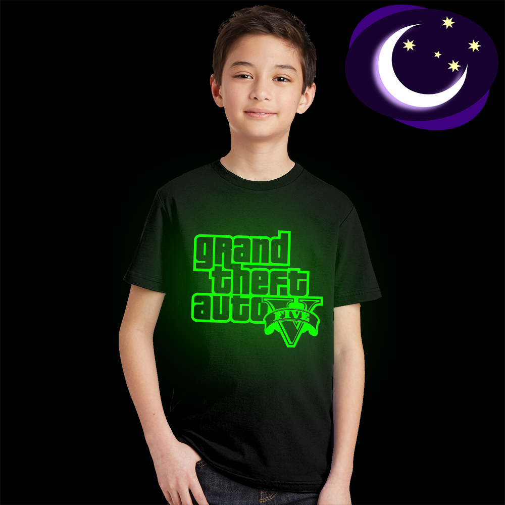 Luminous Grand Theft Auto GTA 5 T Shirt Kid Fluorescent Letter Logo Print Teens Tee Shirt Glow In Dark Boys Girls T-shirt Casual men allover letter print curved hem shirt