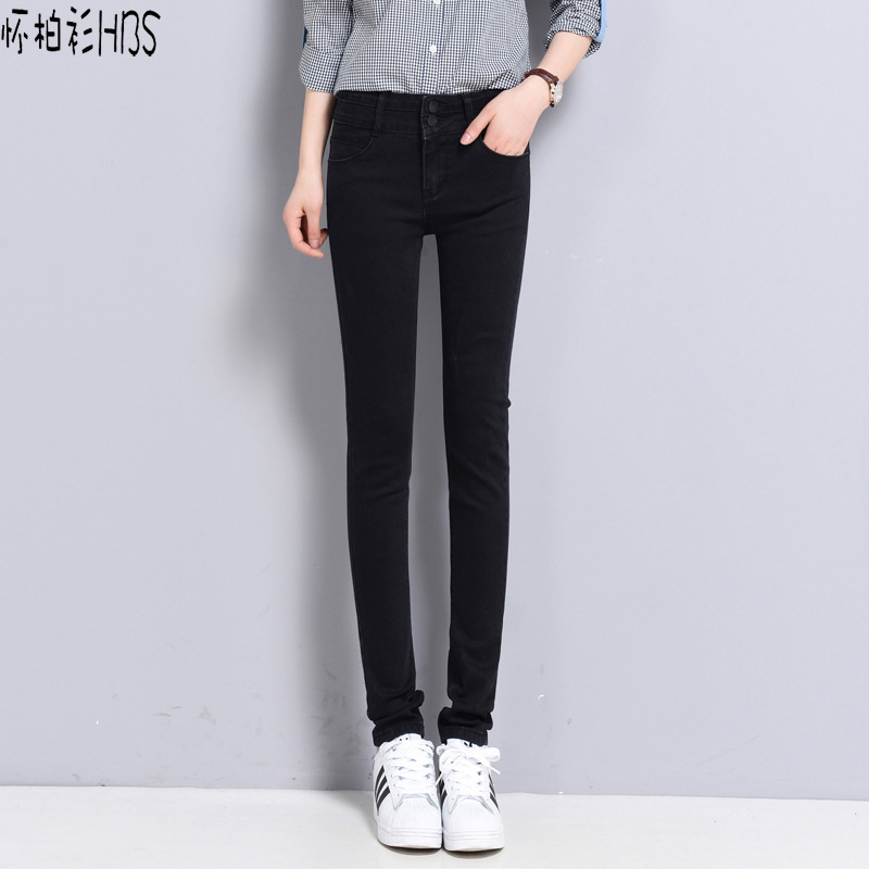 ФОТО HBS Women trousers Casual Slim Vintage Denim  Light Blue Jeans Stretch Skinny Female Mid Waist Elastic pencil Pants Plus Size