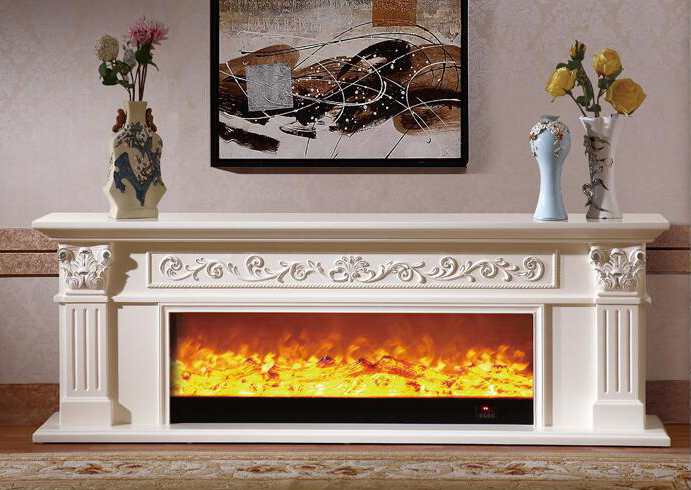 Living Room Decorating Warming Fireplace Wooden Fireplace
