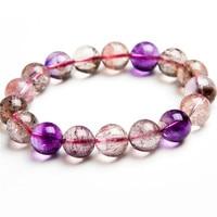 12MM Genuine Natural Purple Rutilated Quartz Crystal Round Bead Stretch Bracelet For Women Super Seven 7 Melody Stone Bracelet